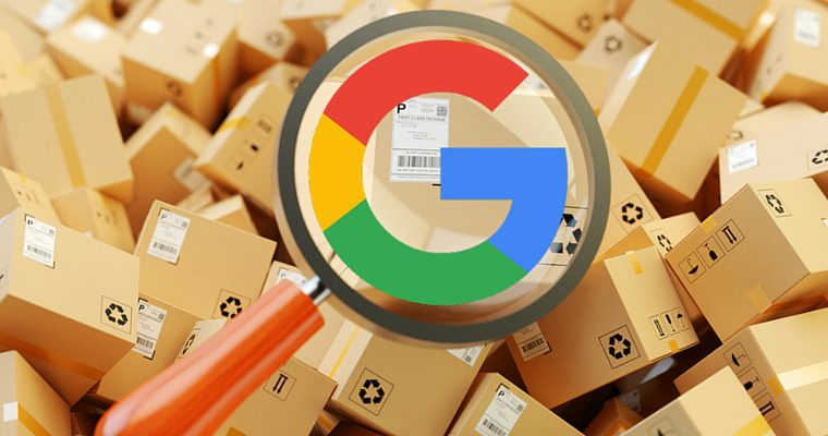 The google logo over a pile of packages