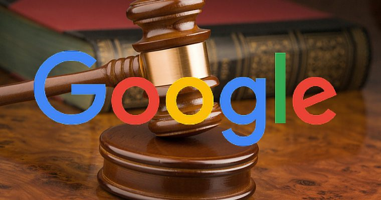 The google logo over a judge's gavel
