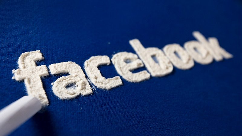 The Facebook logo, formed out of a suspicous powder