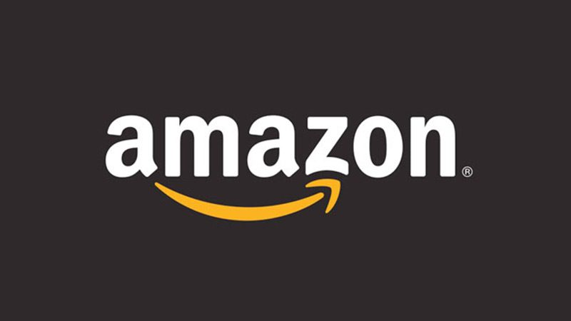 The amazon logo on a black background