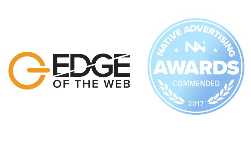 The EDGE of the Web logo, next to a commendation from the Native Advertising Awards