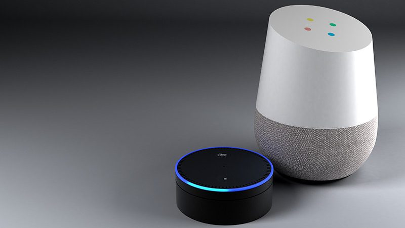 An Amazon Echo and Google Home, two digital assistants