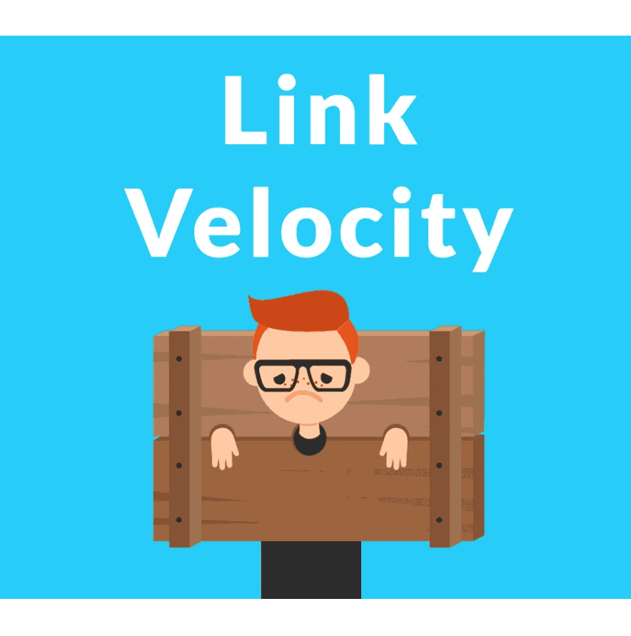 The heading Link Velocity, accompanied by a picture of a man in stocks