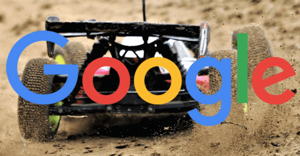 The google logo over a RC car